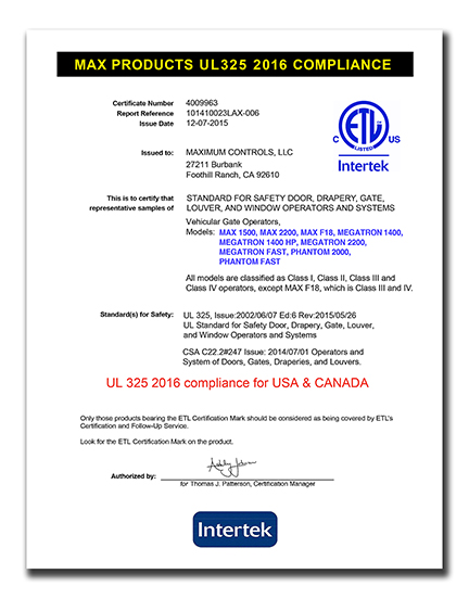 UL 325 2016 certification.