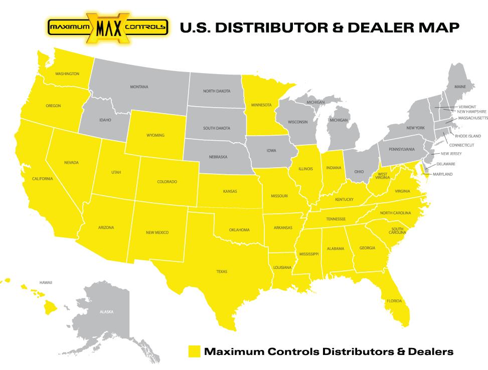 Map of Maximum Controls Gate Operator Distributors and Dealers