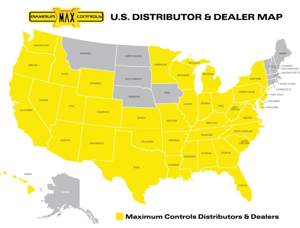 Maximum Controls US Distribution Map Graphic